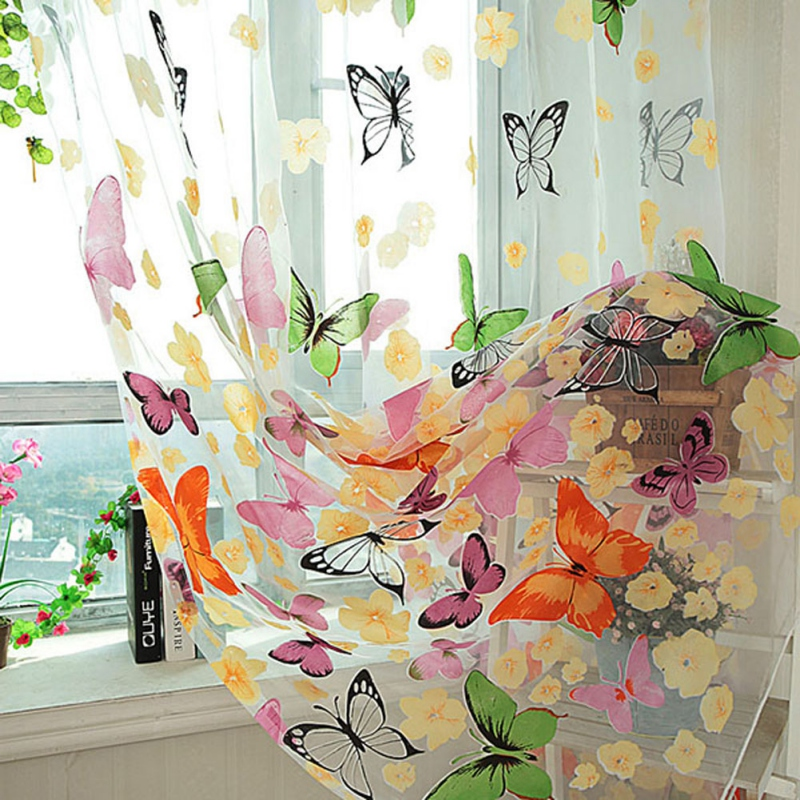 Sheer Panel Butterfly Pattern Voile Curtains Anti-sun-Door-W